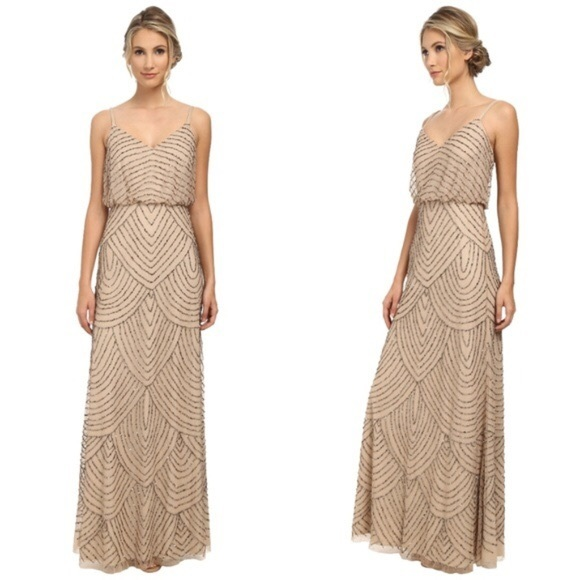 Adrianna Papell Short Cap Sleeve  Blouson Beaded Gown Taupe Pink sz 4  NWT $260